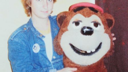 Jane Samkin who was the first ever Woody Bear at Pleasurewood Hills. Jane with the head of Woody Bea