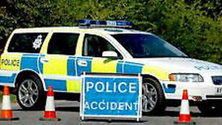 A village road is blocked in both directions after a van drove in to a tree.