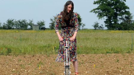 Gemma Sayers, sowing seed with the seed drill at the Oak Tree Low Carbon Farm, Rushmere St Andrew