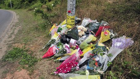 Floral tributes on A14 Sproughton Slip road