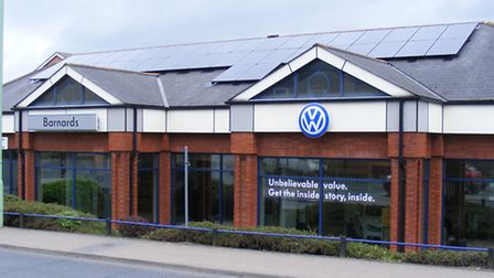 The solar panels on the roof of Barnards Volkswagen at Stowmarket.