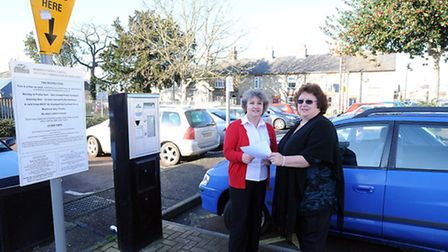 Sudbury Town Council staff Jacqui Howells and Sue Brotherwood in North Street car park, which could