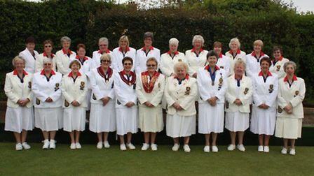 Suffolk County Women's Bowls Association: Back row (from left to right): M. Cole, E. Wright, F. Wis