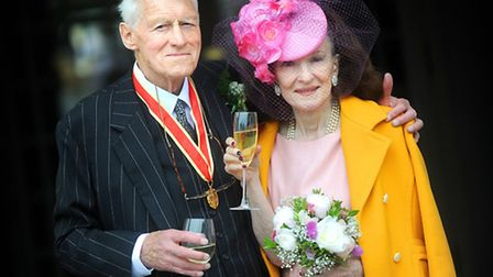 Sir Eldon Griffiths with new wife Susan Donnell at the Athenaeum in Bury St Edmunds.