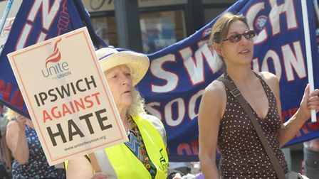 Crowds of people gathered for the Unite Anti- Fascism March through the town centre of Ipswich.