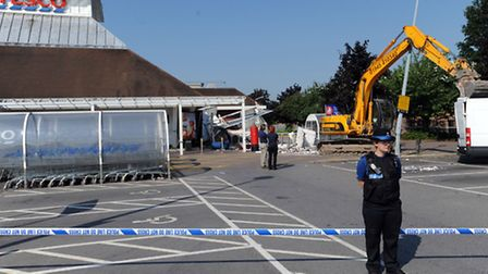 Police at Tesco in Newmarket after an attempted raid on the cash machine.