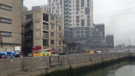 Fire at Ipswich Waterfront. iWitness picture by Robert Moore.