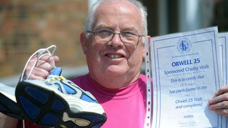 Ron Daley, pictured in Ipswich, is set to take part in the Orwell Walk. Over the years he has raised
