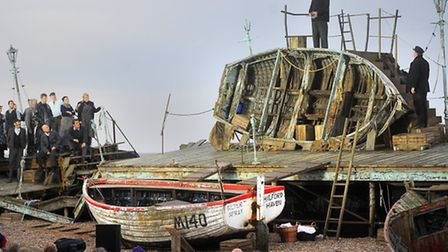 Peter Grimes returned home to Aldeburgh tonight when Brittens sea-faring opera was finally staged i