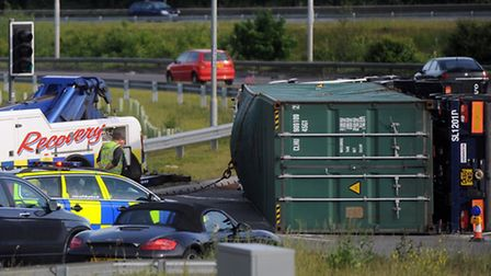 Lorry overturned on the Copdock roundabout