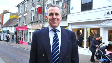 Mark Cordell Chief Executive Officer of Bid4Bury at the top of St. Johns Street in Bury St Edmunds