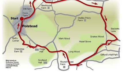 Route of the picturesque Polstead walk
