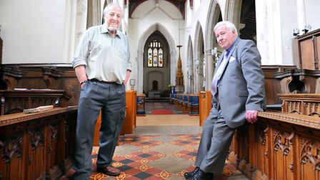 Historian Barry Wall and brick specialist Peter Minter on the spot in St Gregory's Church, Sudbury w