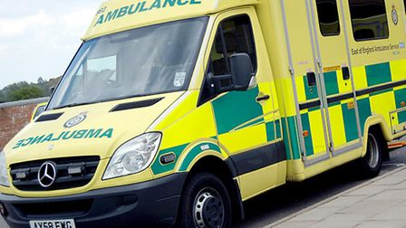 A cyclist was rushed to hospital with a suspected broken rib after being involved in a collision wit
