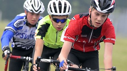 Ipswich Bicycle Club's Pierce Bacon third in a chasing group in the Go Race