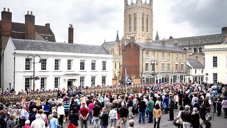 Royal Air Force Honington 15 Squadron homecoming parade and medal ceremony on Angel Hill, Bury St Ed