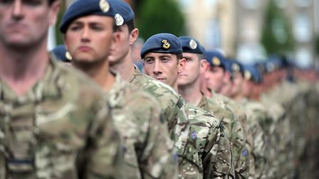Last year's Armed Forces Day in Bury St Edmunds. Homecoming parade in Angel Hill for 11 Squadron Roy