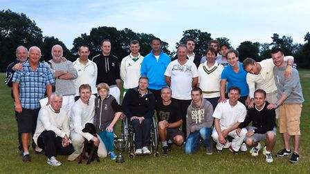 Kim Jansson Charity Cricket Match 26th June 2013 Both teams with Kim Jansson. Picture Stephenwalle