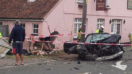 the accident at the Kings Arms, Lawford, A137, 12 June 2013, approx. 05.30am. *** Local Caption *