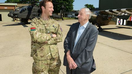 Major Piers Lewis, OC 656 Sqn with World War II veteran and former 656 Squadron member Vince Weaver.