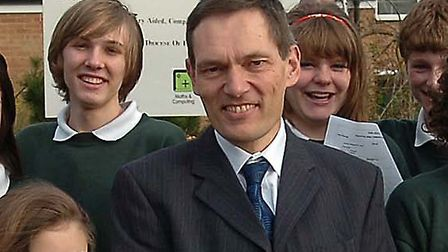 Hugh O'Neill is pictured at St Benedicts School in Bury following league table results