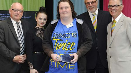 L to R Terry Hunt & Guest of honour Fashion Designer Aimee Ward with the winner of the Award for Out