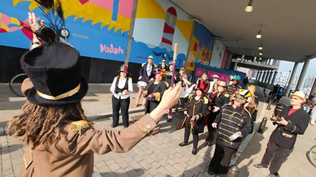 The Mad March Hare Band at the launch of Ip-art 2013. Picture: Jen O'Neill