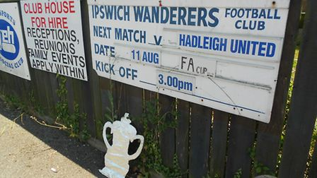 Outside Ipswich Wanderers for the extra preliminary round tie against Hadleigh United last August