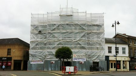 Sudbury town hall is wrapped in plastic while repairs are carried out