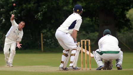 Barry Collins bowling for Woolpit, against Copdock & Old Ipswichian on Saturday