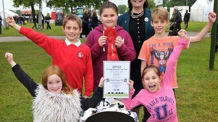 Suffolk's Farming School of the Year winners Britannia, pictured with the Countess of Euston