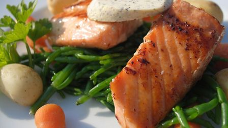 Smoked and fresh salmon with samphire and herb butter