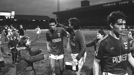 Jason Dozzell is congratulated by Ipswich Town fans after scoring on his debut as a 16-year-old in 1