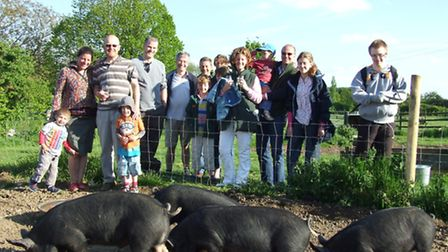 The recently launched Pig Club at Depden Farm Shop viewing the Berkshire Pigs