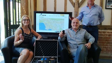 Lucy Finlayson and Richard Prodger of two10degrees with Joe Dunn of Ninja Tracking, standing,