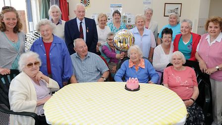 Dorothy Eyles celebrates her 100th birthday at the Hand in Hand club in Felixstowe.
