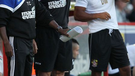 Ipswich Town boss Mick McCarthy and assistant Terry Connor at Stevenage