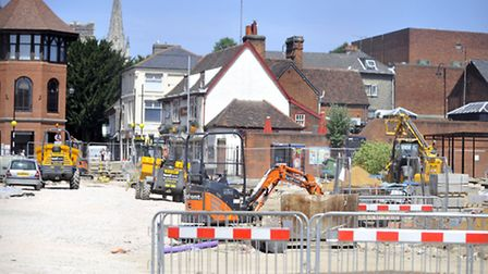 Work continues at the Ipswich bus station.