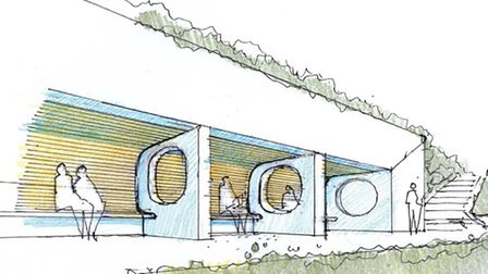 A computer image of a new shelter which is to be built in Felixstowe's seafront gardens as part of t