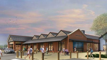 An artist's impression of the proposed Tesco store in Hadleigh