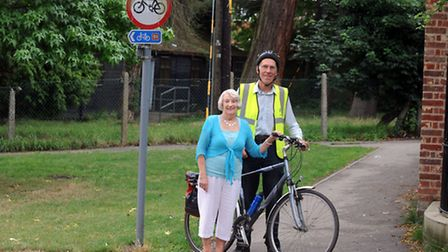 John Matthissen and Poppy Robinson at the strip of land near Crowe Street in Stowmarket which is a n
