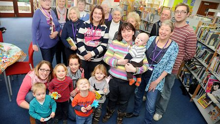 Supporters of Stowmarket Library when they held National Library Day.