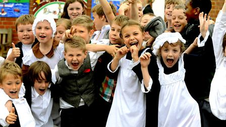 The Guildhall Feoffment Primary school in Bury St Edmunds celebrates it's 170th Birthday with a birt