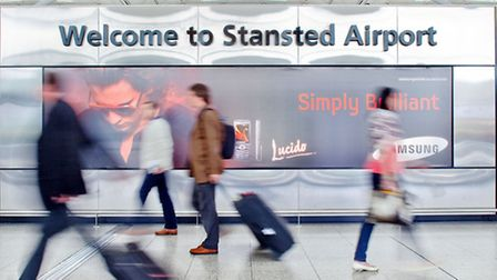 Inside the main terminal at Stansted Airport