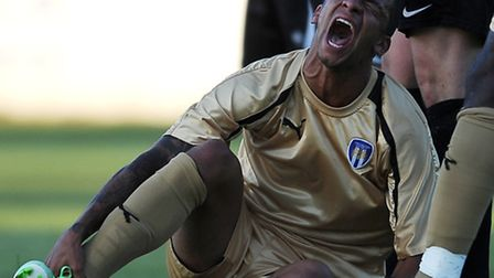 Craig Eastmond suffers an injury for Colchester