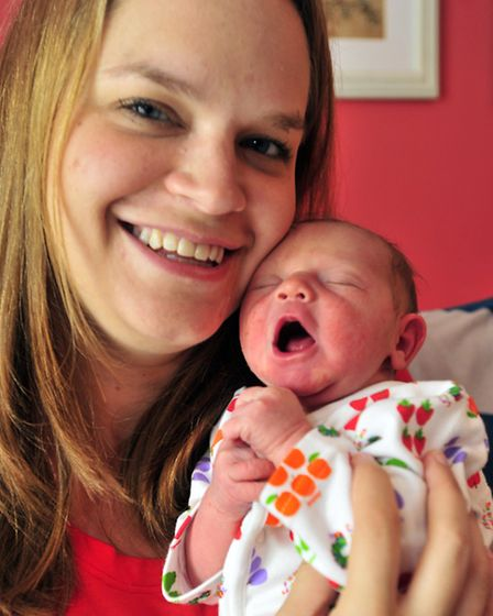 Kelly and James Grundy of Elmsett with their new baby Tobias who was born on the same day as the roy
