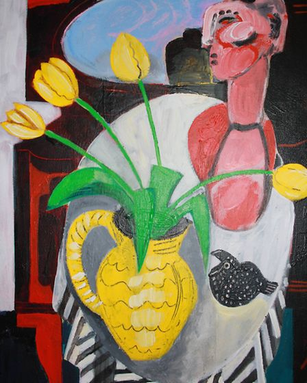 Still Life With Yellow Jugby Naomi Munuo whose latest exhibition is currently on show at the John R