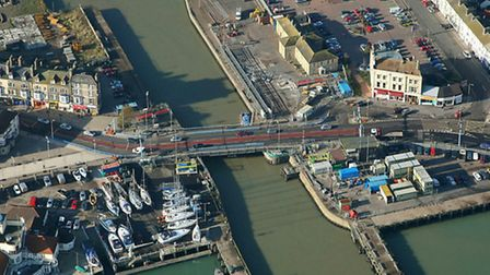 Lowestoft bascule Bridge - the proposed new bridge would be just above it in this picture by Mike Pa