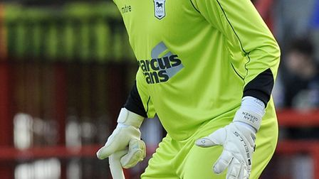 Goalkeeper Dean Gerken playing on trial for Ipswich Town at Crawley