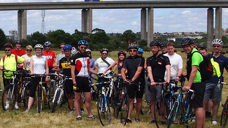 Some of the Suffolk business people and cycling enthusiasts who took part in the Business on the Bik